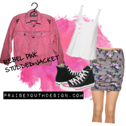 praiseyouth: Rebel Pink Studded Jean Jacket by praiseyouth featuring cotton skirtsHel Och Ren white tank, $40Cotton skirt, $17Converse trainers, $45