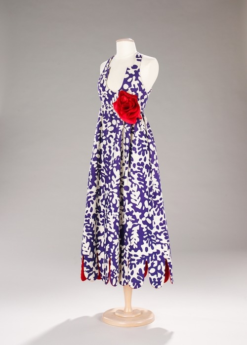 A 1965 tropical print summer maxi dress by Geoffrey Beene.
