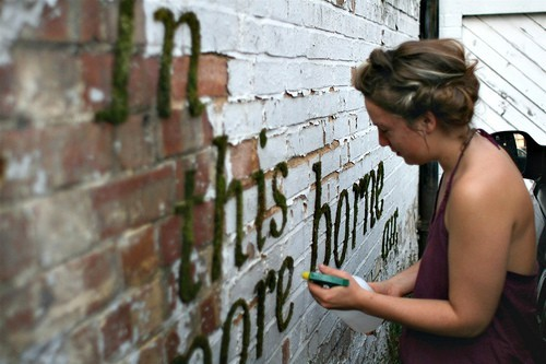 norell:  e-pic:  All Natural Graffiti  Unlike spray paint, moss graffiti is all natural and healthy to work with. You can paint words or images, and the moss fills in like magic! It's easy as pie to whip up a batch of moss paint. Here's how, in your blender, combine: One can of cheap beer or 1 1/2 cups buttermilk A few handfuls of moss One teaspoon of sugar Blend until the mixture is smooth, and you're ready to get painting!  You can use a brush to paint your moss onto concrete walls, rocks, or brick. Mist the moss once a day to help it thrive, and soon your green graffiti will take hold! If you're looking to take this project to the streets, use caution- we don't want to be responsible for any vandalism charges!   tight as shit. I should do this oneday.