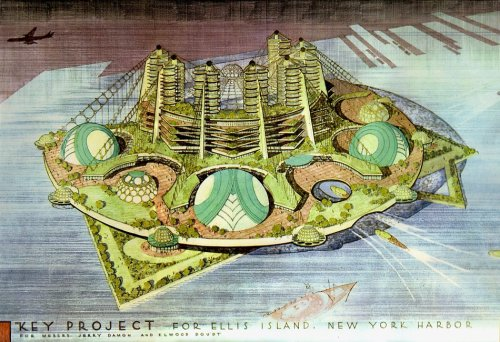 architizer:  Wright's Key project for Ellis Island in 1959, New York Harbor [reblogged via archimaps]