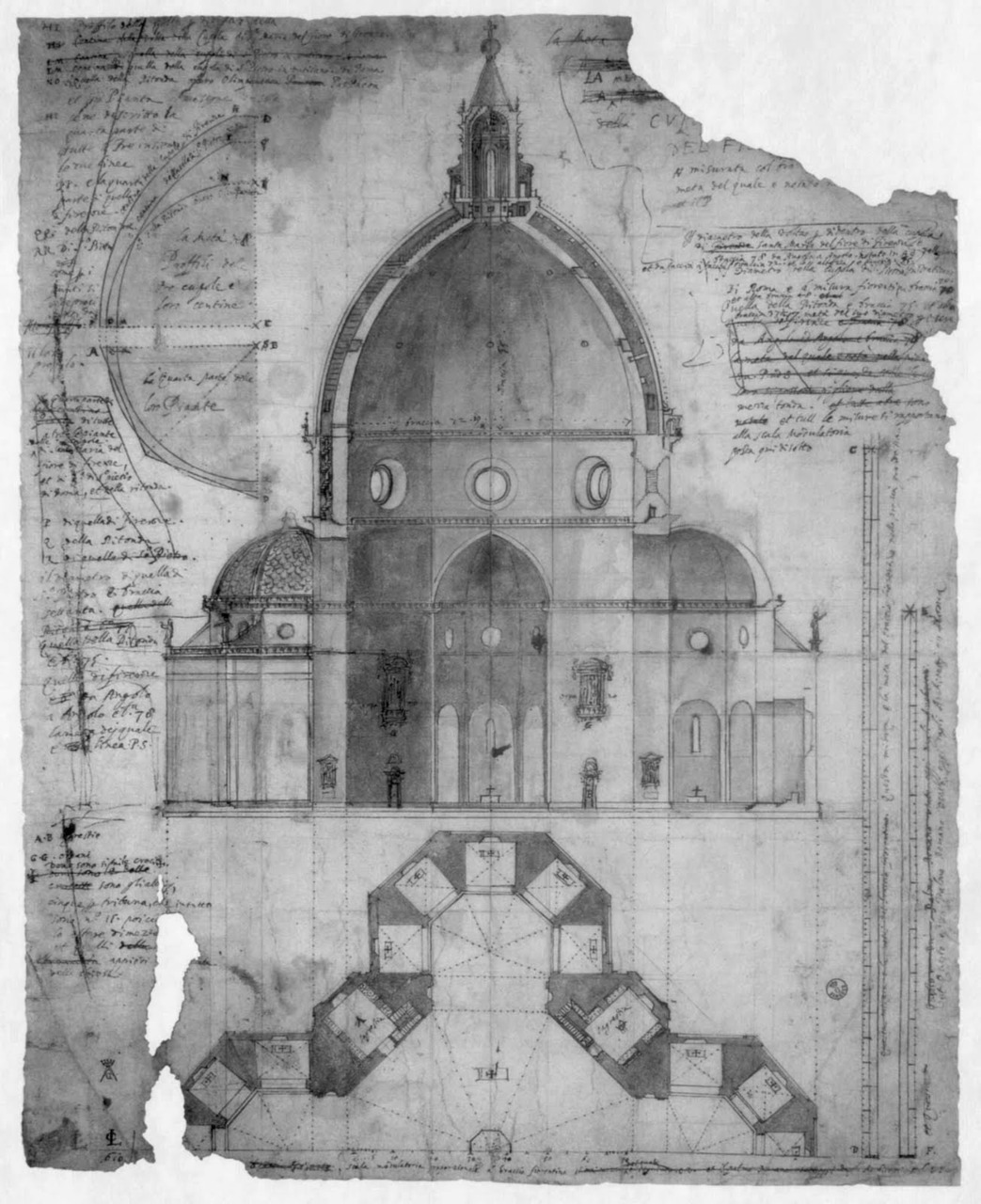 Cigoli's (1559-1613) drawing of Brunelleschi's double shell design of the dome of the Florence Cathedral