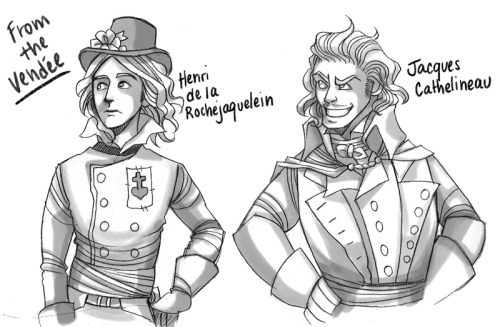 More sketches, this time based on the leaders of the War in the Vendée, a very  violent, very bloody revolt that added to the turbulence of the French  Revolution. Slowly getting my art groove back, slooowly