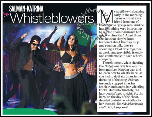 ★ Salman-Katrina Whistleblowers [for #Bodyguard title song]; @BeingSalmanKhan stepped in and taught her whistling tricks, but ended up dubbing for her…!