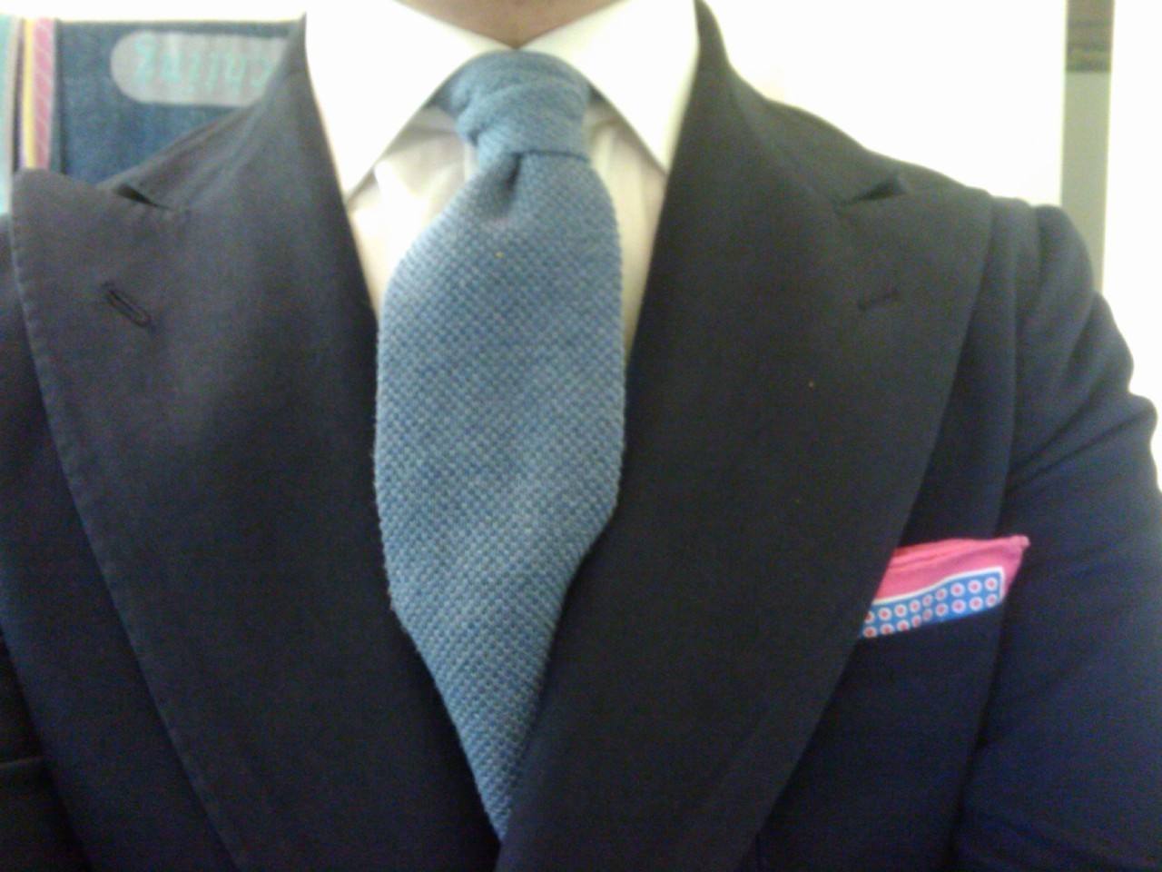 Borrelli cotton DB blazer, AD56 cotton knitted tie and pocket square.