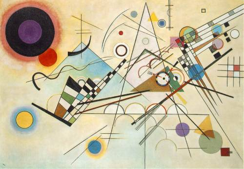 This is Kandinsky's Composition VIII (1923). The Russian artist is credited with the creation of some of the very first purely abstract pieces of art. See how dynamic this piece is, and how it maintains a sense of balance and cohesion despite its unpredictability.