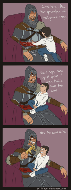 ladytoph:  Oh goodness. Grandpa Ezio is kinda scary…