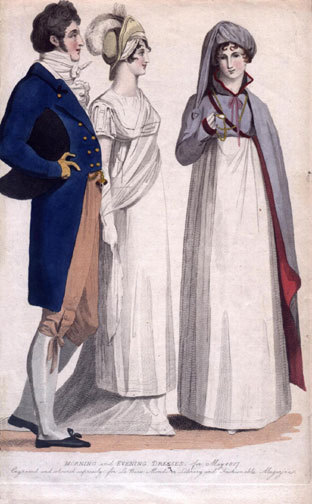oldrags:  Morning and evening dress, 1807, Le Beau Monde  The gal in purple is wearing a very interesting frock!  I love the combination of red and purple!