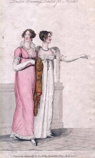 Evening dresses, 1808 UK, La Belle Assemblee