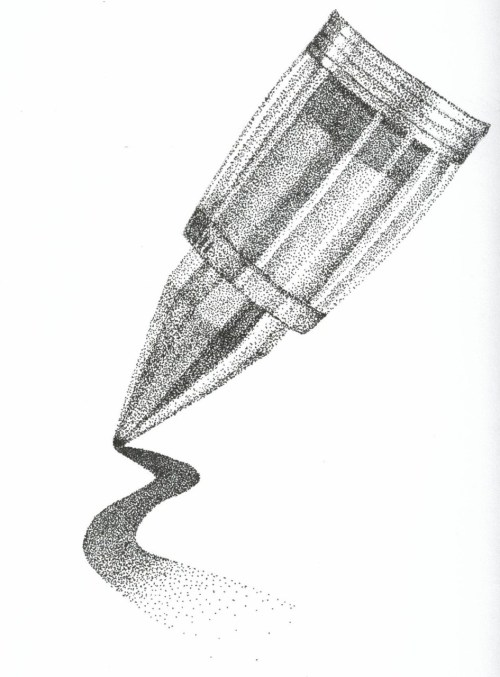 #71: Stippling the pen tip. I love stippling.