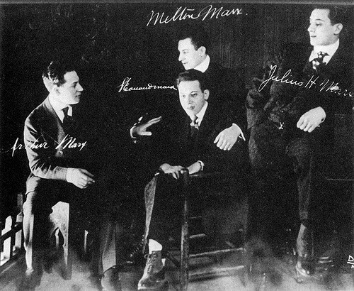 mudwerks:  Preshistoric Marx Brothers (by John McNab) 1917. Chico might be 30 here, or he might be 29, but either way he's the oldest.  Left to right: Arthur (Harpo), Leonard (Chico), Milton (the immortal Gummo), and Julius (Groucho).  Later in 1917, Gummo joined the U.S. Army, thus ending his career in show business.