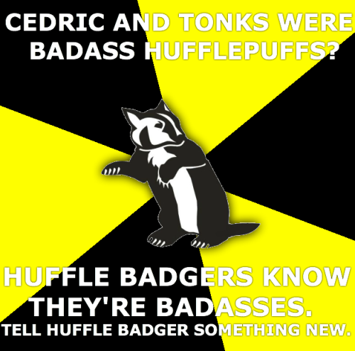 Cedric and Tonks were badass Hufflepuffs? Huffle Badgers know they're badasses. Tell Huffle Badger something new.