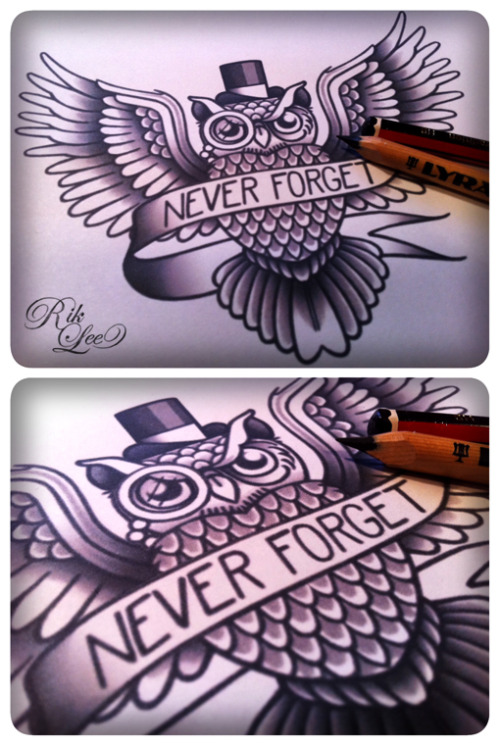 riklee:  Never Forget - © Rik Lee Man, i've drawn so many owls these past few months. Here's another. A simple little commission design for Luke, inspired by some lyrics from some song i'm sure a lot of people on here are familiar with. Call me a safe bet. I'm betting I'm not. I'm glad that you can forgive. I'm only hoping as time goes, you can forget.