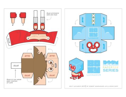 "BOXY Luchador Paper Toy template.  Click on image for high resolution image. You can click it again for the full size. Right Click and ""Save Image"" to download. It will fit on a 8.5x11 sheet."