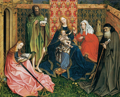 earwigbiscuits:  Virgin and Child with Saints in an Enclosed Garden ~ Master of Flémalle (Robert Campin, 1375-1444)