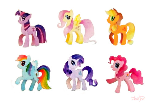 Finished My Little Pony Paper cutouts! Watercolor and watercolor paper.