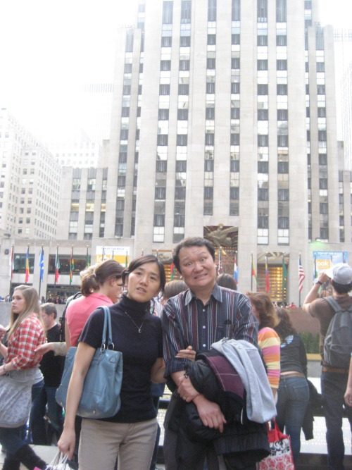 Rockefeller Center, New York. Ms. Qin got lightly mad at Mr. Qin for always ruining pictures by making faces. (you guys wonder where I get it from) -Annie Q