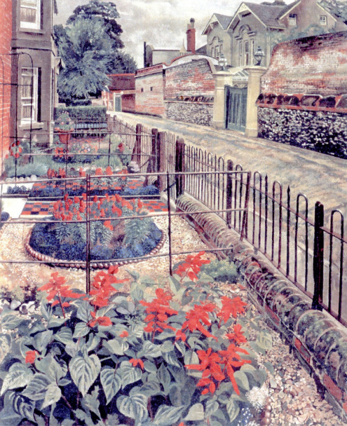 welovepaintings:  Sir Stanley Spencer (1891 - 1959) Gardens in the Pound, Cookham    The Pound is a street in the artist's home town of Cookham. The circular flowerbeds in the gardens are exactly like the one my grandparents had. I remember Grandma being delighted to find some rope edging for her flower bed, and that she always had some of those flowers in it.  Perhaps she was remembering flowerbeds of her younger days.