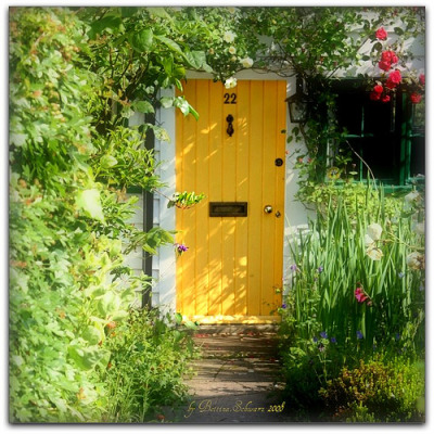 whimsicalraindropcottage:  That yellow door is so happy and cheery