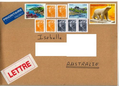 happypenpal:  I'll go to the post office this afternoon with a  very heavy letter… ;- D