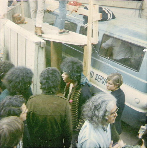 Jimi Hendrix, Jerry Garcia and Mike Bloomfield chatting at Monterey Pop, 1967
