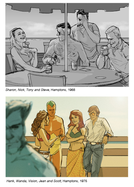 philnoto:   From the Hank Pym Photo Archives- Tony Stark's Hamptons Hideaway   I love it that the X-Men are there!  And that Tony Stark is covering his eye.  And, well, what can I say about a shirtless Nick Fury? Is that really the Beast?  Looks more like Wolverine to me.