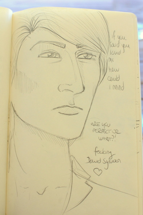 In other news, this weird big-jawed David Sylvian has been drawn. To defend myself, it's my first Sylvian ever. Sorry, Dave.
