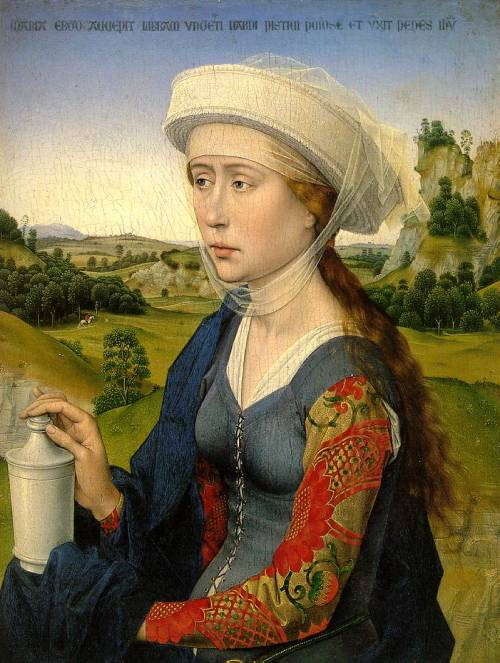 earwigbiscuits:  Magdalen ~ Rogier van der Weyden (right wing of Braque Family Triptych, c.1450-52)