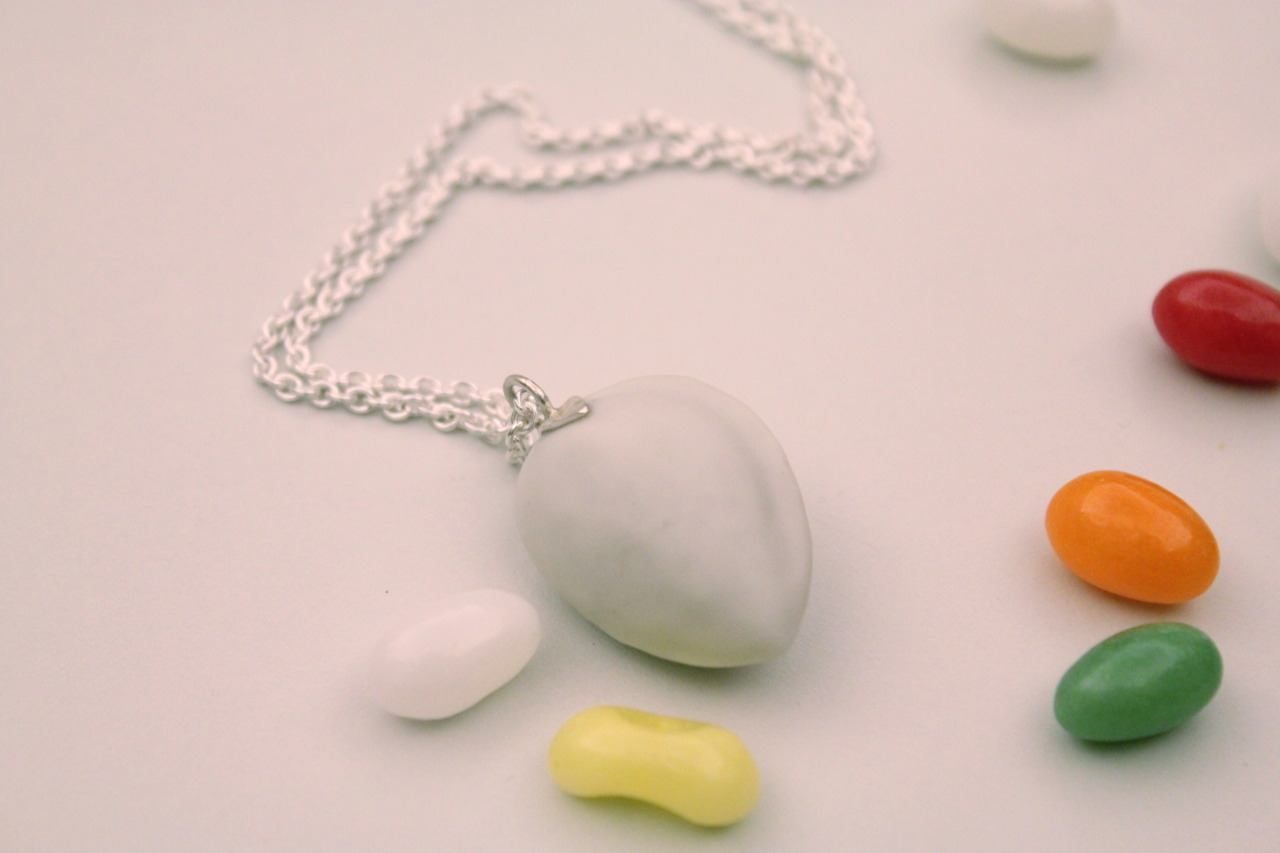 "Porcelain life size Almond Fake on sterling silver chain 23"" buy it on etsy"