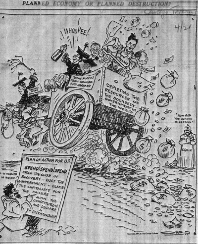 Note Trotskyite in lower left. Funny how things never change! (The cartoon, btw, is from the Chicago Trib, circa 1934.)