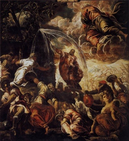 "The art: Tintoretto, Moses Drawing Water from the Rock, 1577. The news: ""Rick Perry's Unanswered Prayers,"" by Timothy Egan for the New York Times. Egan begins:  ""A few months ago, with Texas aflame from more than 8,000 wildfires brought on by extreme drought, a man who hopes to be the next president took pen in hand and went to work: 'Now, therefore, I, Rick Perry, Governor of Texas, under the authority vested in me by the Constitution and Statutes of the State of Texas, do hereby proclaim the three-day period from Friday, April 22, 2011, to Sunday, April 24, 2011, as Days of Prayer for Rain in the State of Texas.' Then the governor prayed, publicly and often.""  The source: Collection of Scuola Grande di San Rocco, Venice."