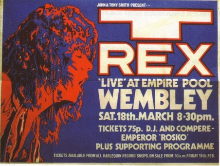 T. Rex poster from 1972 - tickets 75p!! Added by shivadescending