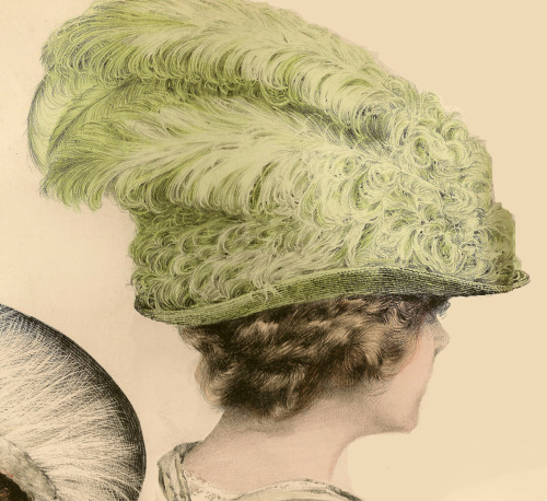"1911 Le Chapeau Parisien fashion plate … Off to a new home ♥ ""Fashionable toque hat made of lime green glossy straw. Brim is rolled up, crown heightening towards the back. Wide band of narrow feather ruches in the same shade sewn on stiff tulle, same colored five ostrich couteaux at the left."""
