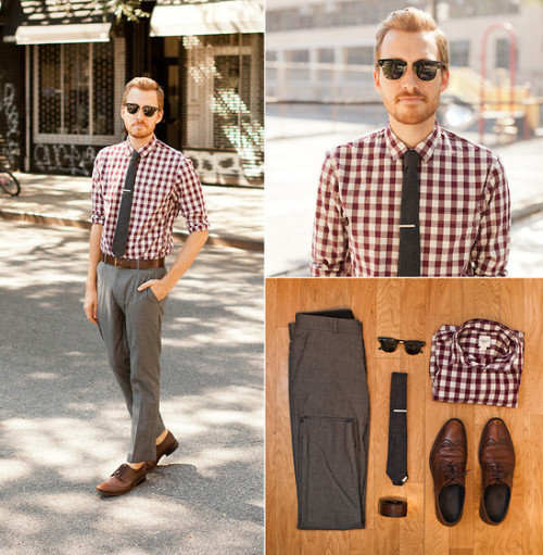 stayclassic:  August 12, 2011. Shirt: Land's End Canvas - $19Pants: Topman - $50Shoes - Alfani (bought at Buffalo Exchange) - $25Tie - Etsy - $12Tiebar - The Tie Bar - $15Sunglasses - Ray Ban ClubmastersBelt - H&M - $10 VIew on: Lookbook.nu | Chictopia