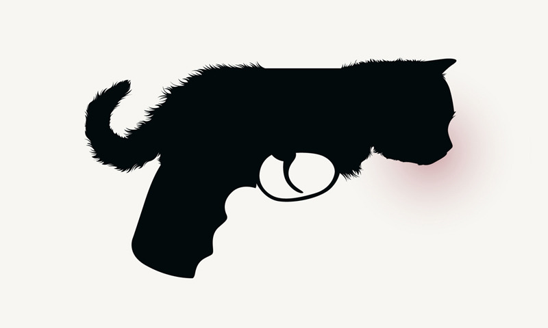 julesjulien:  My cat/gun from my Pets series plagiarized by 揽胜广告 (Look & listen ad agency in Beijing) for the new logo of Maoduoli candies in China. Shame on them!
