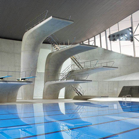 Diving boards of the London Aquatic Centre 2012 (2011) by Zaha Hadid. This is probably some of her best work believe it or not. It is sensual (one could even call it graceful) without being over-indulgent.