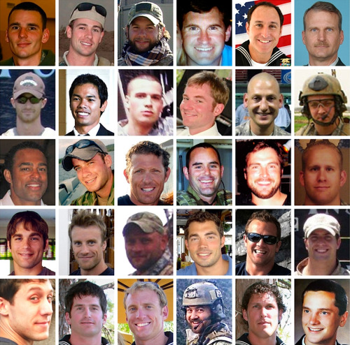 kateoplis:  Pentagon Names 30 American Servicemen Killed in Downed Afghan Chopper  30 faces that are now burned into your retinas. A sad image to look at.