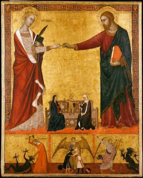 """Mystic Marriage of St Catherine"" Barna da Siena - c. 1340 This painting shows Jesus slipping the Holy Prepuce onto St Catherine's finger. St Catherine of Siena is one of the Jesus's 76 virgin brides.   During the mystical marriage Christ appears to his bride in a vision and presents her with a ring.   This is followed by a ceremony where his mother, saints, and angels are present. St Catherine was special, not only because she levitated and was bulimic and vomited up twigs, but because Jesus gave her His Holy Foreskin to wear on her finger instead of the usual gold ring."