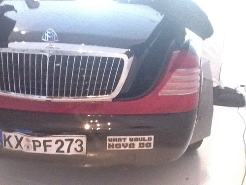 Maybach bumper sticker reads what would hova do…