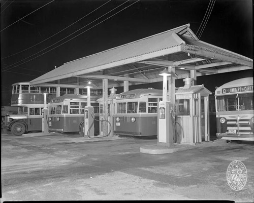 Baltimore Transit Company busesCarroll Park shopJune 13, 1939Photograph by the Hughes Company, Baltimore8 x 10 inch black and white negativeBaltimore City Life Museum CollectionMaryland Historical SocietyMC6053-2