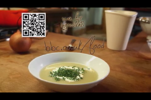Well how hi-tech is that?  The BBC's The Good Cook is using on-screen QRcodes to link to the Beeb website for ingredients and recipes.