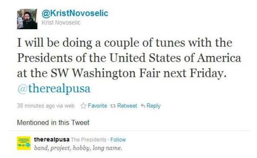 "@KristNovoselic tweets: ""I will be doing a couple of tunes with the Presidents of the United States of America at the SW Washington Fair next Friday.""  (H/T Nirvana News)"