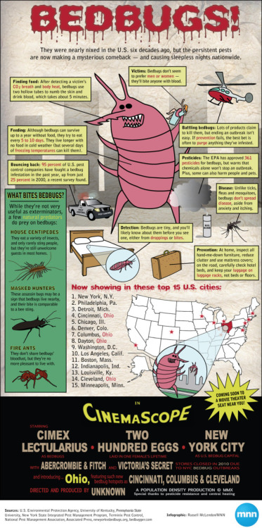 #RockTheReTweet for Tumblr. mothernaturenetwork:  Infographic: Bedbugs attack!As bedbugs invade cities across the U.S., a little knowledge can go a long way in helping you sleep tight and avoid bites.