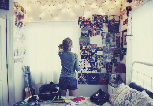 bed, bedroom, girl, guitar, lights - inspiring picture on Favim.com on We Heart It. http://weheartit.com/entry/13262730  love.