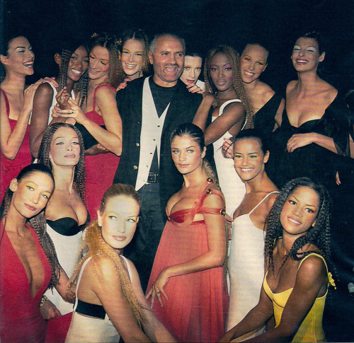 Gianni Versace and his supermodels backstage at S/S 1993