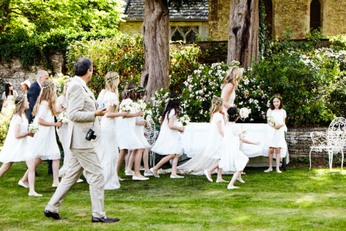 Kate Moss with her bridesmaids and flower girls.