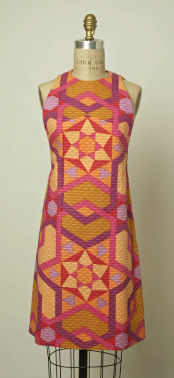 A 1967 textured cotton shift dress with a funky geometric print, by Jacques Tiffeau.