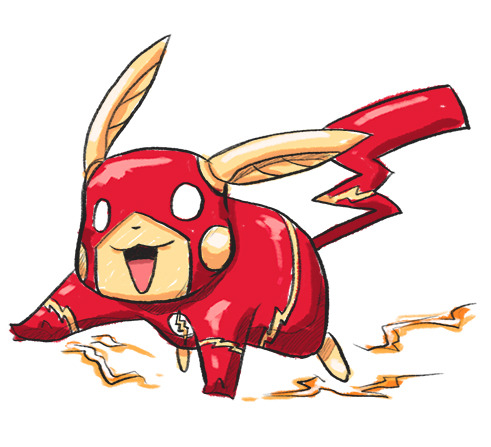 Here's a poorly drawn Pikachu as the flash :D