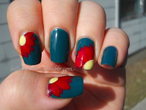Nail Art Challenge Design 3: Flower Colors used: L.A. Girl Matte- Matte Apple Green Fingerpaints- Primary Color A dark red from a set from Ross Sinful Colors- Unicorn
