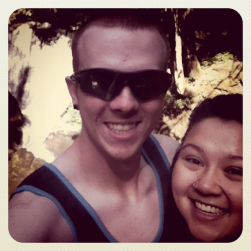 Us at Whatcom Falls for our anniversary :)