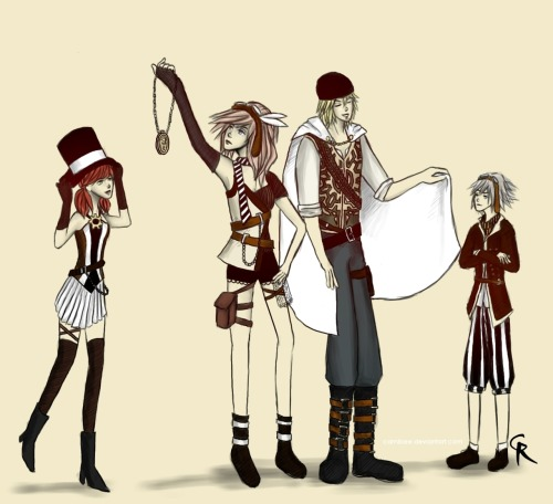 Final Fantasy XIII Steampunk. I love Final Fantasy XIII, I think it's really good! It's different, but with a great story and awesome characters :) So here's a different style I'm trying out and Vanille, Lightning, Snow, and Hope in some steampunk outfits I had so much fun designing. Hope you like.